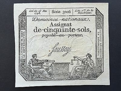 France Assignat Fifty 50 Sols PA70 French Revolution Note 1793 Series 3006 UNC