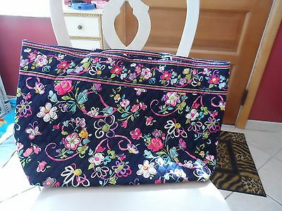 Vera Bradley Grand Tote in Ribbons pattern with hot pink interior NWT