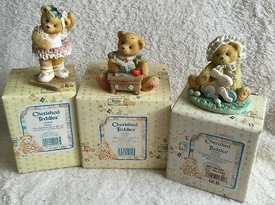 Cherished Teddies Lot of 3 Friendship Themed Figurines w Boxes Some COA