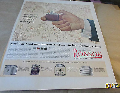 Original Old Product Ad--  1953  RONSON---THE RONSON WINDSOR LIGHTER