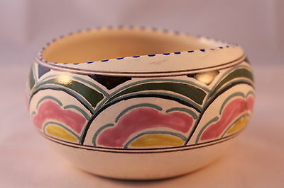HONITON POTTERY SMALL BOWL HAND PAINTED ON CREAM 1900c + NICE EARLY ANTIQUE
