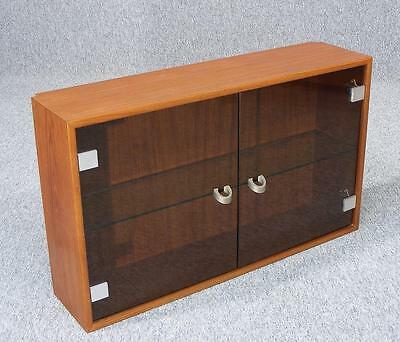Vintage Retro Teak  Wall Mounted Glazed Cabinet Unit