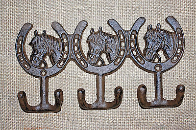 "(1),TRIPLE WESTERN HOOKS,horseshoes,horses,wall hooks,""antique look"",ranch, W-30"