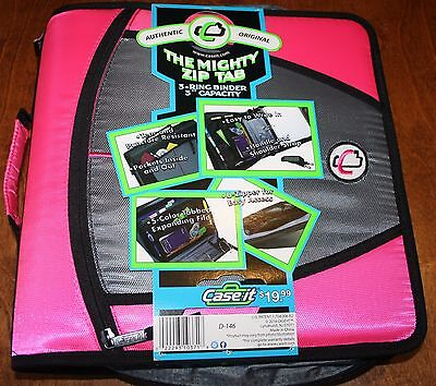 """New Case It Pink 3"""" Coupon Binder Case With Inserts Zipper Close 022293103718"""