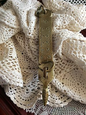 Vtg Latch Hook, Solid Brass Hasp Lock Gate, Rustic, Arrowhead / Rattlesnake Tail