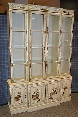 Vintage Asian Style Painted & Lighted 4 Door China Cabinet