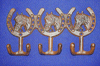"(9),TRIPLE WESTERN HOOKS,horseshoes,horses,wall hooks,""antique look"",ranch, W-30"