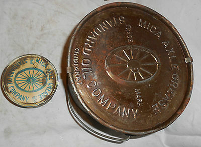 Antique Standard Oil Of Indiana Mica Axle Grease Bucket And Tin 1931