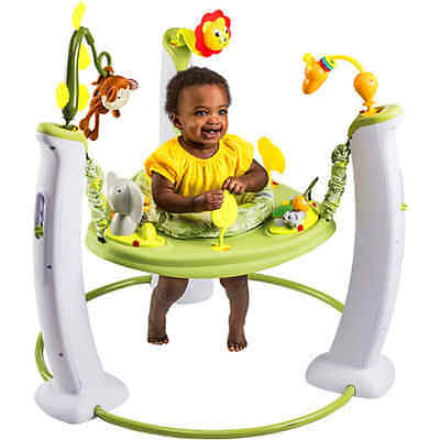 Evenflo ExerSaucer Jump Learn Stationary Jumper Safari Friends Toy Play Baby new