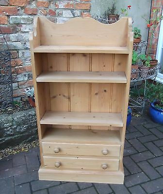 Narrow Solid Pine Four Shelf Bookcase~Two Drawers Below~Shaped Gallery