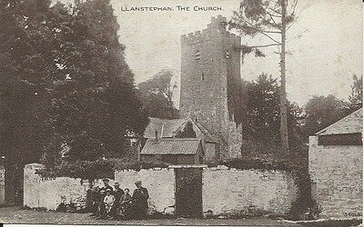 Vintage postcard of Llanstephen church and village group, Carmarthenshire