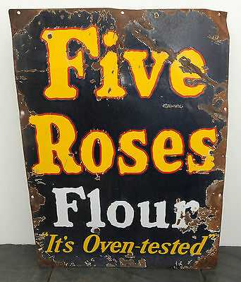 "c. 1920 Five Roses Flour RARE Heavy Porcelain Sign It's Oven-Tested 32"" x 24"""