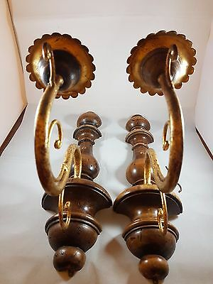 Pair Of Antique Vintage Wall Lights / 2 Pieces Wood/brass