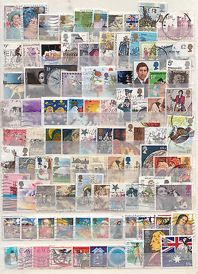 Selection of 91 Different British Decimal + Pre Dec Coms Used Postage Stamps