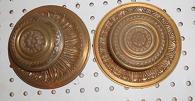 """Used Vintage Pair Schlage Richelieu # 1046 Ornate Brass Knobs 3 1/2 With 6 """" Bks"""