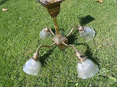 Rare Vintage Brass Bryant Ceiling Chandelier Light Fixture W/ Glass Shade, Fancy