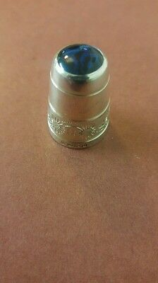 1996 Solid Silver Thimble With Stone Top, James Swann & Son, Hm Birmingham