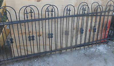 Antique   Wrought Iron Fence 54 Ft 34 Tall Spear In Hoop Plus 14'