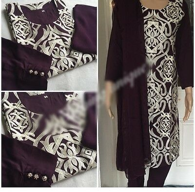 Beautiful Brand New Pakistani Indian Asian Kameez And Capri Suit Plum