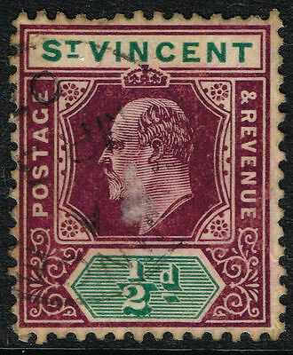 Sg 85 St. Vincent 1905 - Halfpenny Dull Purple & Green - Used