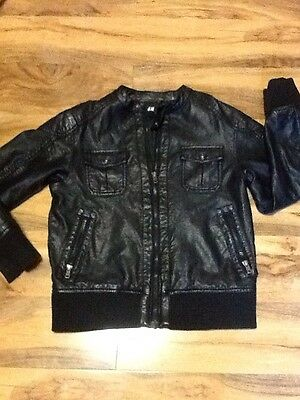 H&M Girls Black Leather Jacket Aged 12-13 Years Old