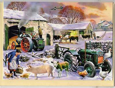 Fordson Tractor & Traction Engine--Christmas Print Card--Trevor Mitchell