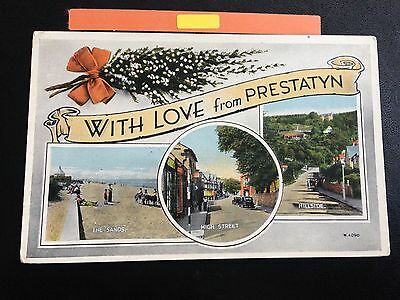 With Love From Prestatyn Real Photograph Multiple Views Postcard 1953