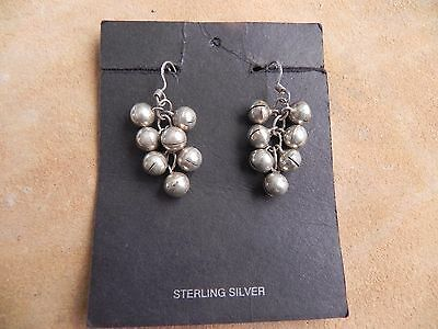 Sterling Silver Grape Cluster Bells dangles Earrings .925 Taxco Mexico