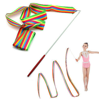 4M Gymnastics Ribbon Rainbow Rhythmic Streamer Twirling Dance Baton Rod Stick
