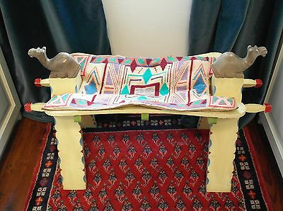 VINTAGE camel stool saddle foot seat chair footstool graden child painted