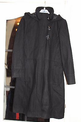 Next, Black Hooded Long wool coat age 13-14