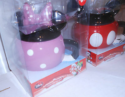 Disney Pair Mickey And Minnie Ceramic Covered Mugs With Matching Spoons