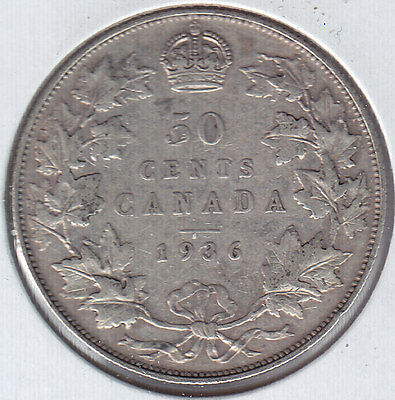 1936 Canada Fifty Cents Silver Coin