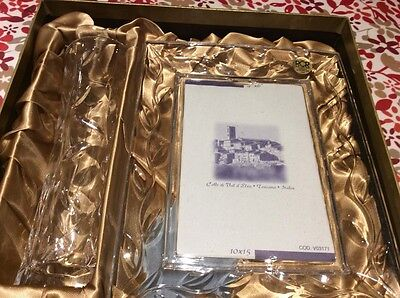 ROYAL CRYSTAL ROCK SET. Photo frame and vase boxed set. 24% lead crystal