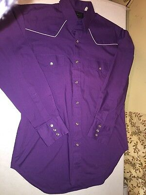Men's Vintage HIGH NOON Western Shirt Sz Medium Long Sleeve Pearl-Snap Purple