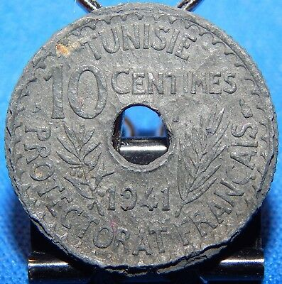 1941 Tunisia 10 Centimes French Protectorate WW II Issue Circulated Zinc Coin!!