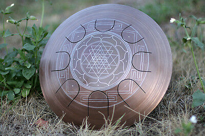 "GUDA Freezbee ""Sri Yantra"" Arcane,Steel Tongue Drum with Bag and Rope Decoration"