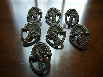 Lot Of (7) Antique Victorian Cast Iron Drawer Pulls; #'s Stamped On Back...