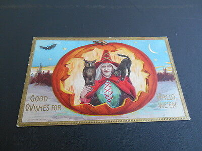 Rare Vintage 1909 Good Wishes Halloween Postcard Witch Owl Bat Black Cat Conwell