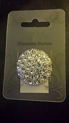 Large Silver Round Diamante Button Fastening