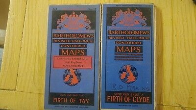 2 vintage bartholomew half inch cloth mounted maps firth of tay firth of clyde