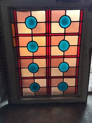Sg 930 Antique Eastlake Blue Rondel Window Stainglass