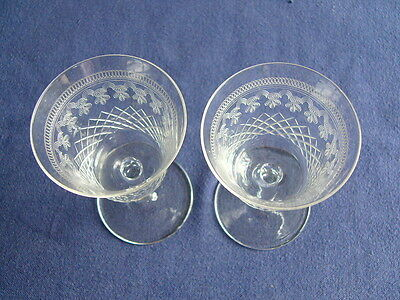2 x  Beautiful Vintage/Antique Etched Glasses