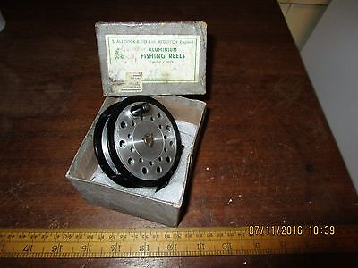 Boxed Vintage S.Allcock & Co. Gilmour Fly 3 1/2 in. Aluminium Fishing Reel -VGC