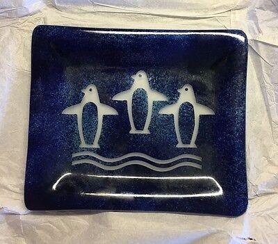 New Etched Penguin Glass Candy Dish In Cobalt Blue
