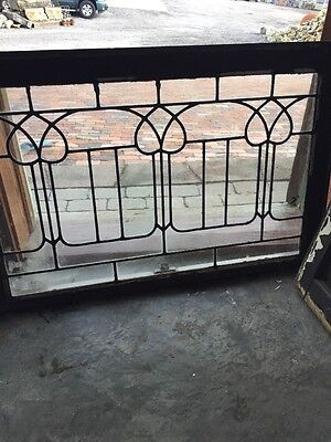 Sg 932 Antique Leaded Glass Tulip Design Transom Window