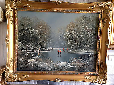 Original painting  painted by Les Parson,gilt ornate framed,signed oil on canvas