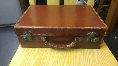 Nice old childs evacuee leather suitcase