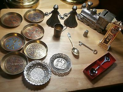 vintage metal collectibles lot bank clock candleholders spoons more must see