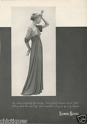 1948 ADRIAN Neo Classic Gown Women's Clothing Fashion Designer Vintage Print Ad